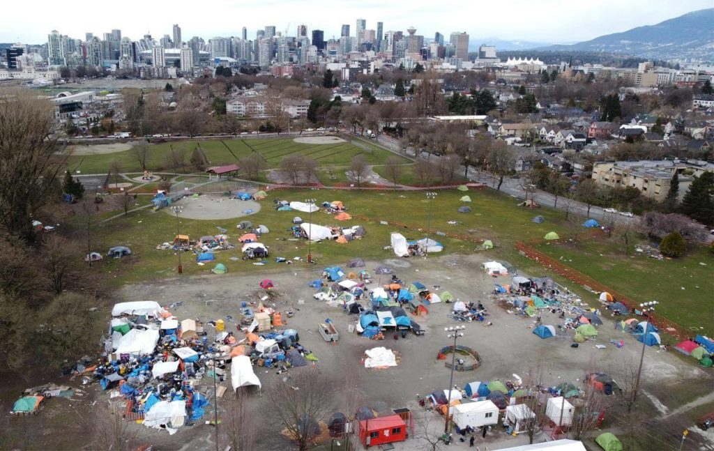 Vancouver's park board general manager issued a new order Friday restricting tents and other temporary structures from being set up in Strathcona Park after April 30, 2021. THE CANADIAN PRESS/Jonathan Hayward